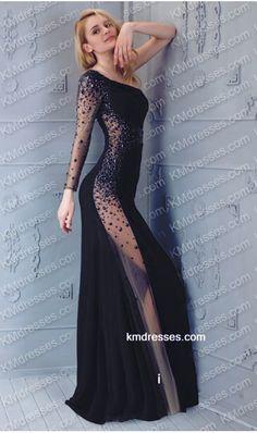 sexy sprinkling slim one-shouldered long sleeve jersey prom dress Black Dresses