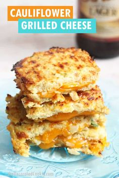 grilled cheese with cauliflower bread is a low-carb, keto-friendly lunch Best Sandwich Recipes, Lunch Recipes, Beef Recipes, Low Carb Recipes, Cooking Recipes, Family Recipes, Vegetable Recipes, Dinner Recipes, Appetizer Sandwiches