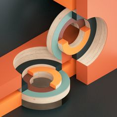 "Studies in abstract & circular compositions which explore intersections within an isometric environment. Following the project ""Color relationships"", there is a underlying study about the interaction between colors and shapes."