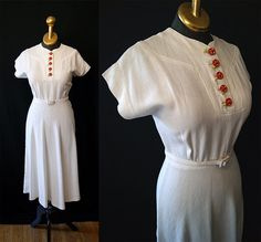 Sweet 1940's white linen day dress with tiny by wearitagain, $148.00