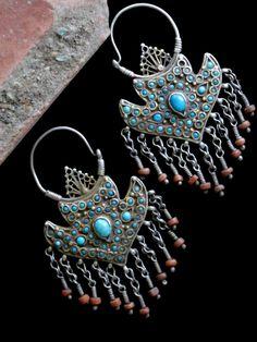 Antique Bukhara Uzbek Tribal Jewelry Earrings - Collectible