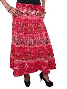 BOHEMIAN WOMEN'S STYLE : Indian Block Print Cotton Wrap Skirt Festive Dress...  http://stores.ebay.com/mogulgallery