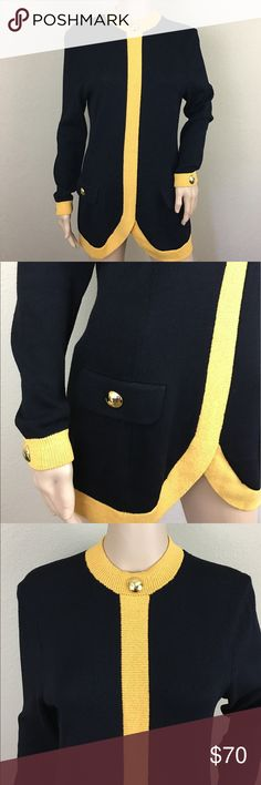 """St. John by Marie Gray black gold sweater tunic Great condition. Beautiful santana knit. Mustard yellow trim with gold buttons. Zip up back. 17.5"""" armpit to armpit and 29.5"""" long. St. John Sweaters"""