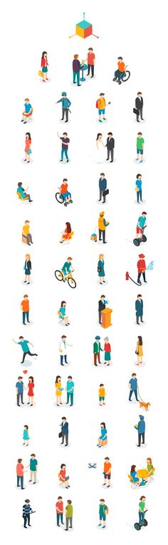 """Isometric People"" // Gleb Tagirov via Behance"