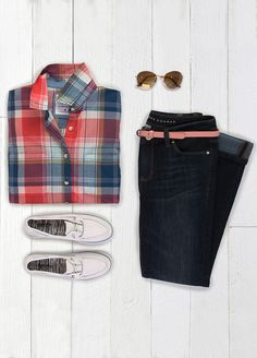 The printed button-down shirt is one of our 10 spring essentials. When done in plaid, this borrowed-from-the-boys classic is the focus of the outfit. Pair with chic dark jeans and throwback boat shoes. Featured product includes SONOMA Goods for Life shirt and shoes and LC Lauren Conrad jeans. Get the right spring mix at Kohl's.