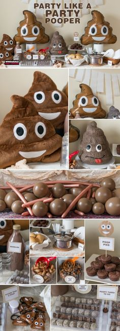 Lol speaking of poop, he might like this for a party theme cause he seems to like the poop emoji lmao! Im loving all these poop emoji ideas!We'll have to run it by him but i think this might just be the winner lol! Birthday Fun, 10th Birthday, Birthday Party Themes, Birthday Ideas, Cake Birthday, Kids Party Themes, Party Ideas, Funny Party Themes, Party Fun