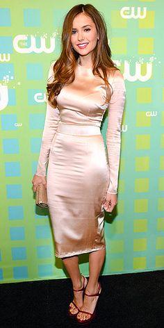 Nina Dobrev: long sleeve rose gold Dolce and Gabbana dress!