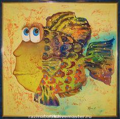 Купить Разноцветные рыбки(батик панно) - рыба, картина в подарок, море, Батик, шелк