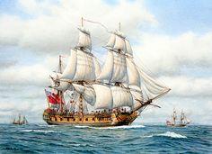 East Indiaman Running Up-Channel. Russell Jinishian Gallery, Inc. Peter Pan Art, Navy Coast Guard, War Elephant, Old Sailing Ships, Man Of War, Naval History, Wooden Ship, Nautical Art, Tall Ships