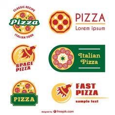 ピザのロゴテンプレート 無料ベクター