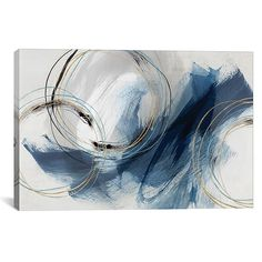 Enhance the look of your decor with the chic, abstract styling of this iCanvas Isabelle Z Detour Canvas Wall Art. Boasting shades of blue with gold highlights and annular elements, this giclée print will add contemporary flair to your space. Canvas Artwork, Canvas Art Prints, Framed Art Prints, Painting Prints, Canvas Wall Art, Framed Canvas, Mural Wall, Art Encadrée, Ouvrages D'art