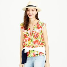 NWT J.Crew Collection Silk Blouse in Hibiscus This summery sleeveless blouse is made from pure silk that's finished with a tropical floral we found at an Italian print house famous for its one-of-a-kind designs. It was digitally printed, which means it has richer colors and sharper quality—and looks even better in vacation Instagrams. The feminine, flattering silhouette is finished with details like pleating at the neck, a stripe of mesh trim across the bodice and a tacked, turned-back…