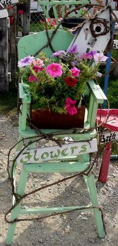 Repurposed highchair, with birdhouse