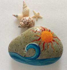 Sun and Waves- Large hand painted sea rock- Garden Rock- Paper Weight- Door…