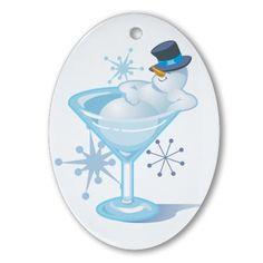 A sorry sight - a drunken snowman.  Snowman Martini Oval Ornament