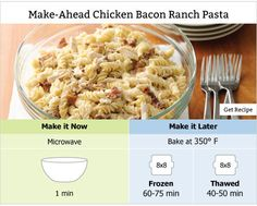 Make Ahead Chicken Bacon Ranch Pasta - delicious pasta salad that can be made now or later! #freezerfriendly