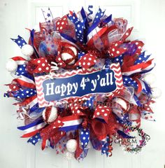 Deco Mesh Patriotic Wreath -4th of July Decor -Happy 4th Y'all Sign by www.southerncharmwreaths.com #july4th #usa #patriotic