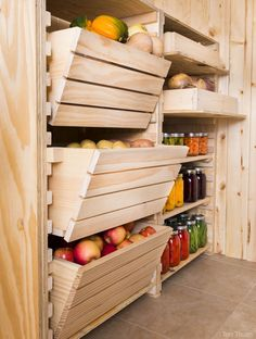 If you've built a top-notch root cellar, you'll want to build a top-notch storage system to keep your vegetables fresh and accessible. cellar storage, pantry storage, root vegetable storage, food storage, dream pantry, vegetable storage ideas, storag system, root cellar ideas, root cellaring