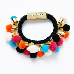 From the Spring Summer 2015 Aloha Friday Collection by HOLST+LEE, Multi Pompom Bracelet is handmade in New York City