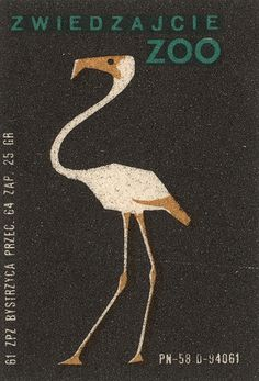 Love this super-regal rendering of a white and gold flamingo on a black ground promoting the Warsaw Municipal Zoo. Illustrations, Graphic Illustration, Graphic Art, Matchbox Art, Pub, Light My Fire, Vintage Labels, Vintage Travel Posters, Design Inspiration