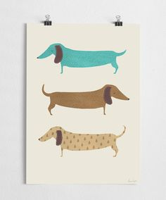 Art print, animal art, dog poster, dachshund, nursery wall decoration // Sausage dogs on Etsy, $36.58 AUD
