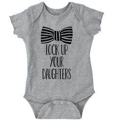 Lock Up Your Daughters Romper Bodysuit - Unique Baby Outfits Boy Onsies, Cute Baby Onesies, Baby Boy Shirts, Cute Baby Clothes, Babies Clothes, Babies Stuff, Funny Baby Shirts, Baby Boy Outfits, Kids Outfits