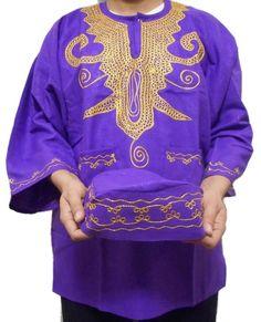 Mens Dashiki Shirt African Rayon Brocade Top Women Blouse Purple w/ Hat One Size Brocade Suits, Brocade Blouses, Brocade Dresses, African Dashiki Shirt, Dashiki For Men, African Dress, Tribal Style, African Shirts For Men, Purple Dress