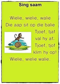 Preschool Learning, Preschool Activities, Baby Boys, Animals Name In English, Afrikaans Language, Old Nursery Rhymes, Kids Poems, Children Songs, Afrikaanse Quotes