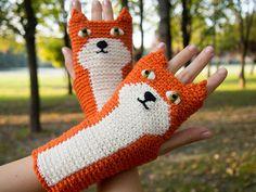 Fox Fingerless Gloves Orange by Pomber