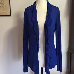 "Jones New York Open Front Cardigan- Med Lightweight rayon/ nylon blend with subtle ruffled neckline! Length is 27""Like new Jones New York Sweaters Cardigans"