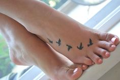 Little Birds Tattoo Designs On Foot For Girls | Tattooshunt.com