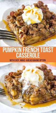 Pumpkin French Toast Casserole can easily be prepped the night before and baked the next morning. It feeds a crowd, has a delicious pumpkin flavor, and a cinnamon streusel topping for a little crunch. Pumpkin French Toast, French Toast Bake, French Toast Casserole, Breakfast Casserole, Fall Breakfast, Breakfast Recipes, Pumpkin Breakfast, Ideas Tostadas, Nutella