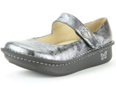 Paloma Pewter Black Tumble -- The Paloma features an adjustable velcro instep strap. Of course, it is built on the original stable, rocker outsole that is engineered to roll naturally, reducing heel and central metatarsal pressure. The flat bottom makes it easy to walk in while encouraging proper posture and normal gait.