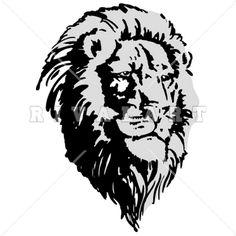 Mascot Clipart Image of A Realistic Lions Head