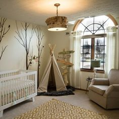 Woodland and tribal inspired nursery, complete with teepee and fictional…