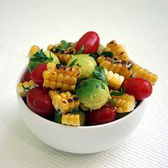 Grilled Corn Avocado and Tomato Salad