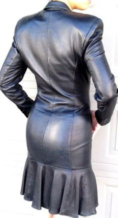 NORTH BEACH BLACK LEATHER FITTED DRESS - FRONT SNAPS - SMALL