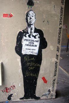 Alfred Hitchcock, Latin Quarter: Passage des Postes, Paris, 2007  Artist: Jef Aerosol  Photo: Wally Gobetz