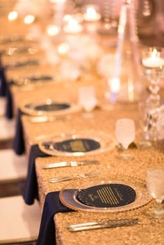This gorgeous Great Gatsby inspired navy and gold wedding from Ryan Joseph Photographs and Tracie Domino Events had me enthralled from beginning to end! Gatsby Wedding, Bling Wedding, Trendy Wedding, Navy Gold, Pink And Gold, Navy Pink, Wedding Place Settings, November Wedding, Wedding Table Decorations