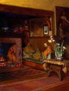 Mary Hiester Reid, The Inglenook in My Studio (c. 1910) on ArtStack #mary-hiester-reid #art