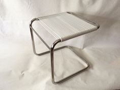 Vintage Modern Mid Century Bauhaus Chrome White Cord Cantilevered Vanity Stool Ottoman in the Style of Andre Dupre for Knoll by PopUpModern on Etsy