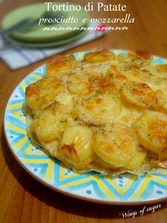Tortino di patate prosciutto e mozzarella. Un secondo saporito che può essere servito anche come piatto unico - Wings of sugar blog