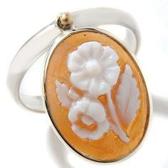 Italy Cameo by M+M Scognamiglio 16mm Sardonyx Sterling Silver Flower Ring Size 5 #ItalyCameo #Flower
