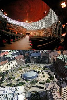 The Temppeliaukio Kirkko (Rock Church) is a thrilling work of modern architecture in Helsinki. It is built entirely underground and has a ceiling made of copper wire. (by architect brothers Timo and Tuomo Suomalainen in Religious Architecture, Modern Architecture, Sacred Architecture, Visit Helsinki, Baltic Cruise, Finland Travel, Modern Church, Church Building, Chapelle