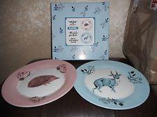 Magpie Fauna Dinner plates Nicholas John Frith Hedgehog and Deer