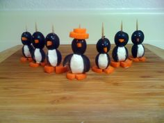 what you need: black olives, cream cheese, large carrot, sharp knife, toothpicks. how long this will take: 15 minutes!