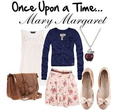 "Once Upon a Time: ""Mary Margaret (Snow White) is an endearing soul who loves to wear soft colors and lots of skirts with whimsical patterns.    For this outfit, I chose a lace top that can be layered with a navy blue cardigan with bow details. Next, I chose a floral skirt and beige/pink flats. When accessorized with an apple necklace and a leather satchel, you'll be ready to start singing with the animals in the forest and hanging out with your favorite seven dwarf friends."""