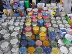 Mexico City, November 2011 -- a colorful display of prayer candles for sale.