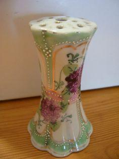 Vintage Antique Porcelain Hat Pin hatpin Holder Raised Dots Violets or Lilacs | eBay
