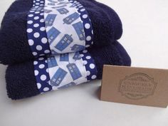 Navy Tardis Dr Who washcloths Dr Who Bathroom Dr Who by AugustAve, $19.00